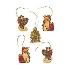 Alexander Taron 5-Pack Santa Claus Gift Tag Ornaments