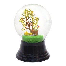 Alexander Taron Glass Harvest Tree Snow Globe Ornament