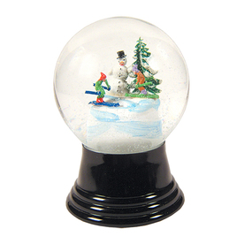 Alexander Taron Glass Medium Snowman and Skiers Snow Globe Ornament
