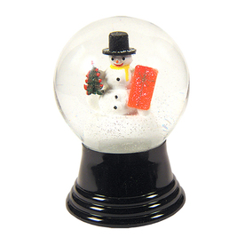 Alexander Taron Glass Medium Snowman with Gift Snow Globe Ornament
