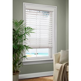 allen + roth 2.5-in White Faux Wood Room Darkening Horizontal Blinds (Common 35-in; Actual: 34.5-in x 64-in)