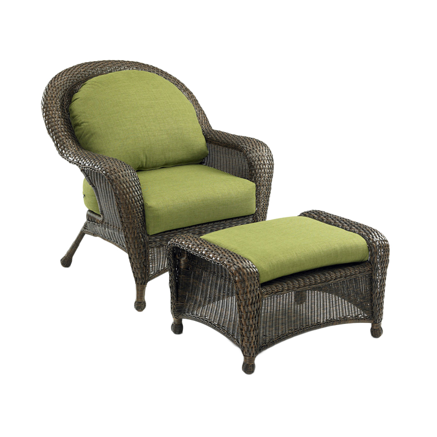 Shop Outdoor Greatroom Company Balsam Wicker Patio Chair With Solid Cushion A