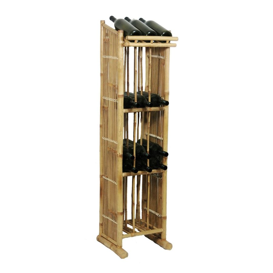 Shop bamboo 54 freestanding floor wine rack at for Floor wine rack