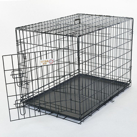 Majestic Pets 4-ft x 2.6-ft x 2.5-ft Black Collapsible Plastic and Wire Pet Crate