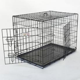 Majestic Pets 2.5-ft x 1.75-ft x 2-ft Black Collapsible Plastic and Wire Pet Crate