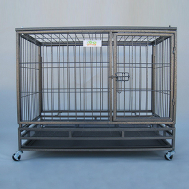 Go Pet Club 3.58-ft x 2.5-ft x 3.16-ft Hammertone Collapsible Plastic and Wire Pet Crate