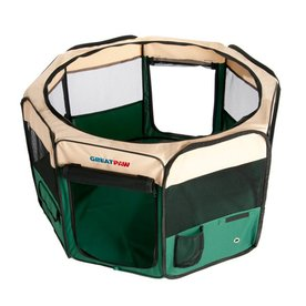 Great Paw 2.5-ft x 2.5-ft x 1.41-ft Green Collapsible Pet Crate