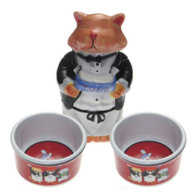 Snoozer Ceramic Double Basin Cat Bowl