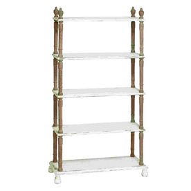 Woodland Imports 75-in H x 37-in W x 14-in D 5-Tier Wood Freestanding Shelving Unit