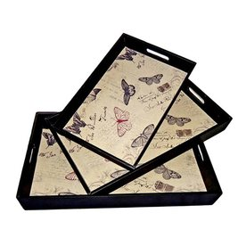 Cheung's Butterflies Multicolor Wood Rectangle Serving Tray