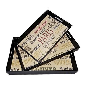 Cheung's Typography Multicolor Wood Rectangle Serving Tray