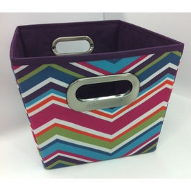 Style Selections 10-in W x 8-in H x 12-in D Chevron Print Fabric Milk Crate