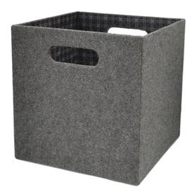 allen + roth 10.69-in W x 11-in H x 10.69-in D Grey Fabric Milk Crate