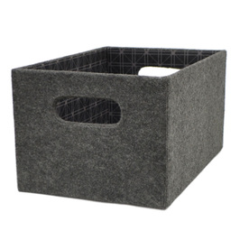 allen + roth 7.13-in W x 5.5-in H x 10.69-in D Grey Fabric Bin