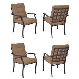 Garden Treasures Set Of 4 Eastmoreland Textured Brown Steel Stackable Patio Dining Chairs