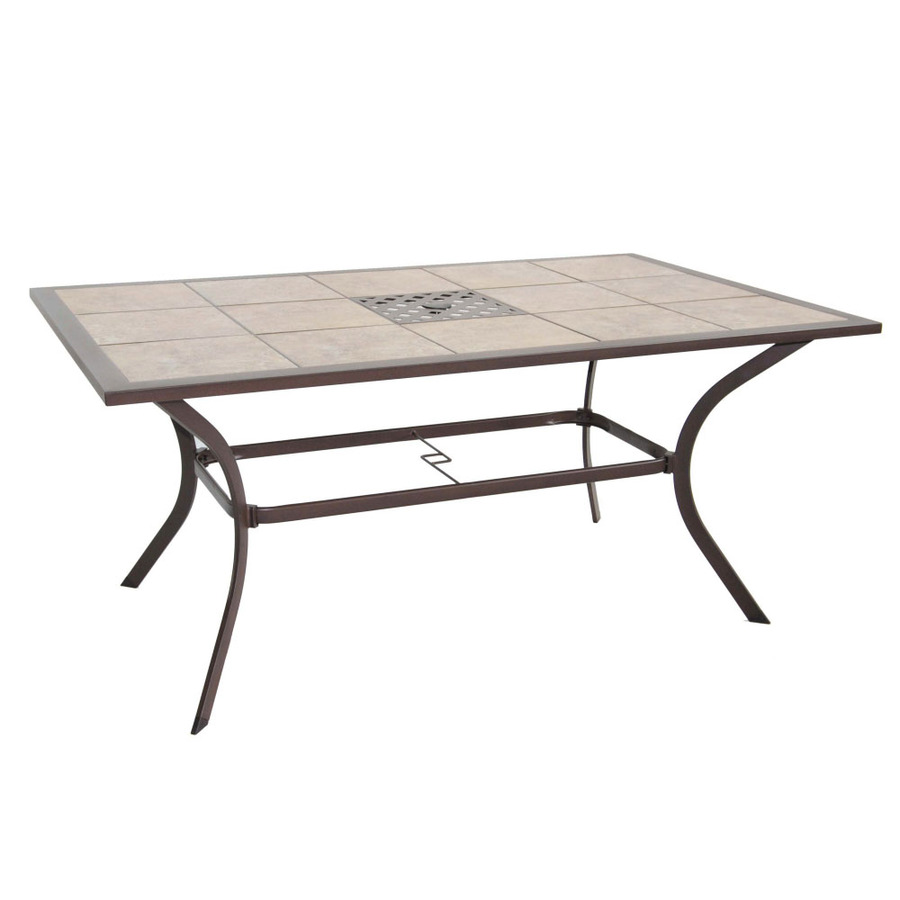 Eastmoreland Tile Top Textured Brown Rectangle Patio Dining Table