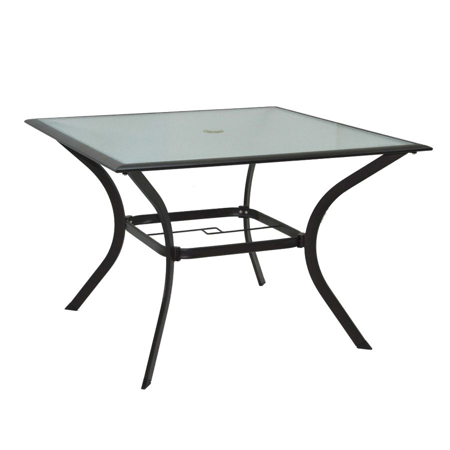 Shop garden treasures eastmoreland glass top textured for Glass top patio dining table
