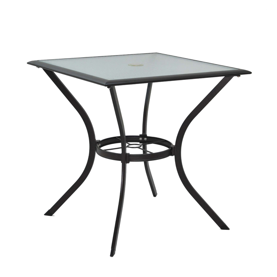 Glass Top Textured Brown Square Patio Bistro Table