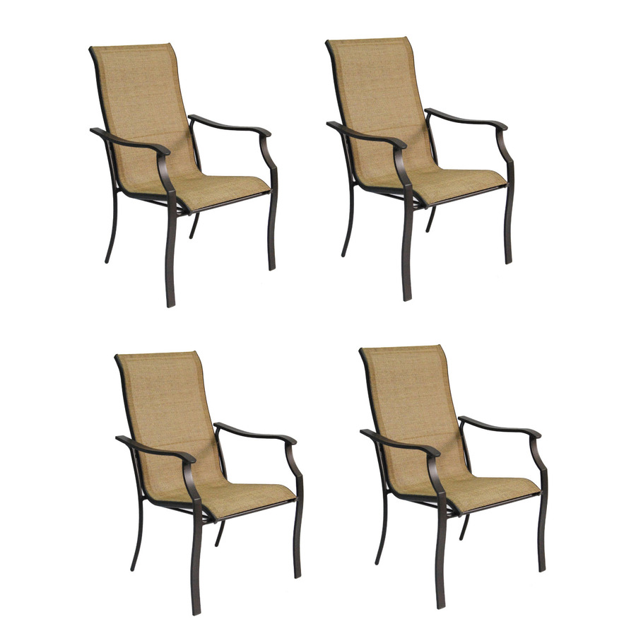 brown sling seat steel stackable patio dining chairs at