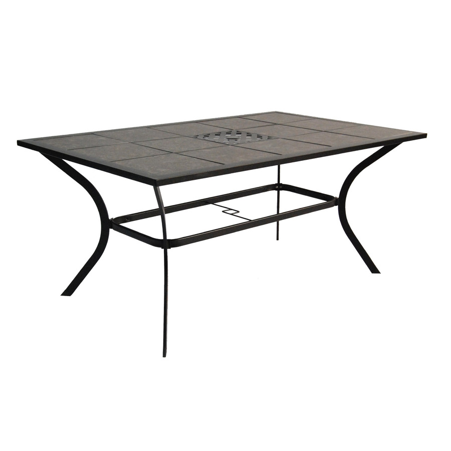 cascade creek tile top black rectangle patio dining table at