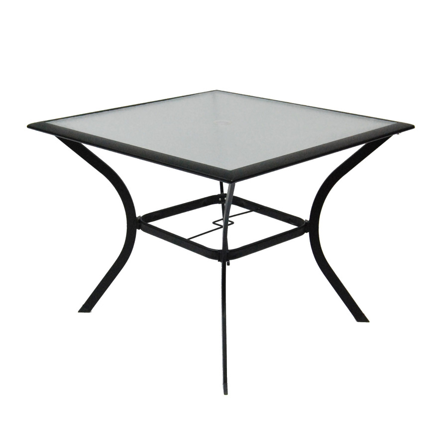 Shop garden treasures cascade creek glass top black square for Garden patio table