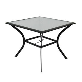 Cascade Creek Glass Top Black Square Patio Dining Table At