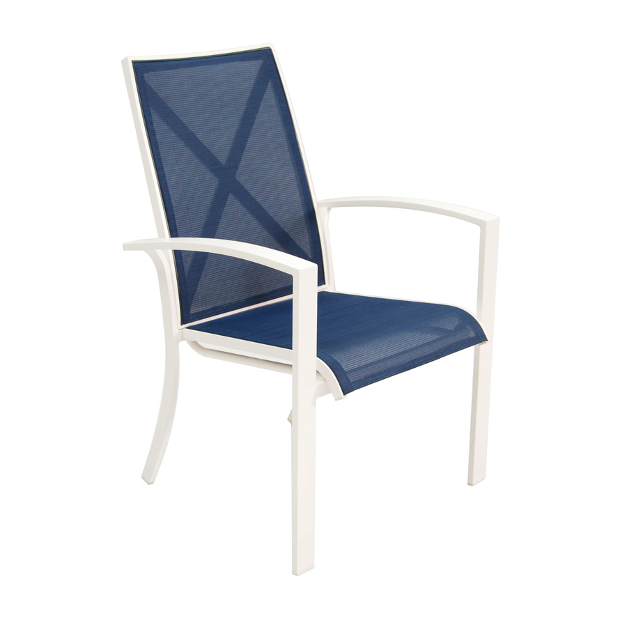 Shop Allen Roth Set Of 4 Ocean Park White Sling Seat Aluminum Stackable Patio Dining Chairs At