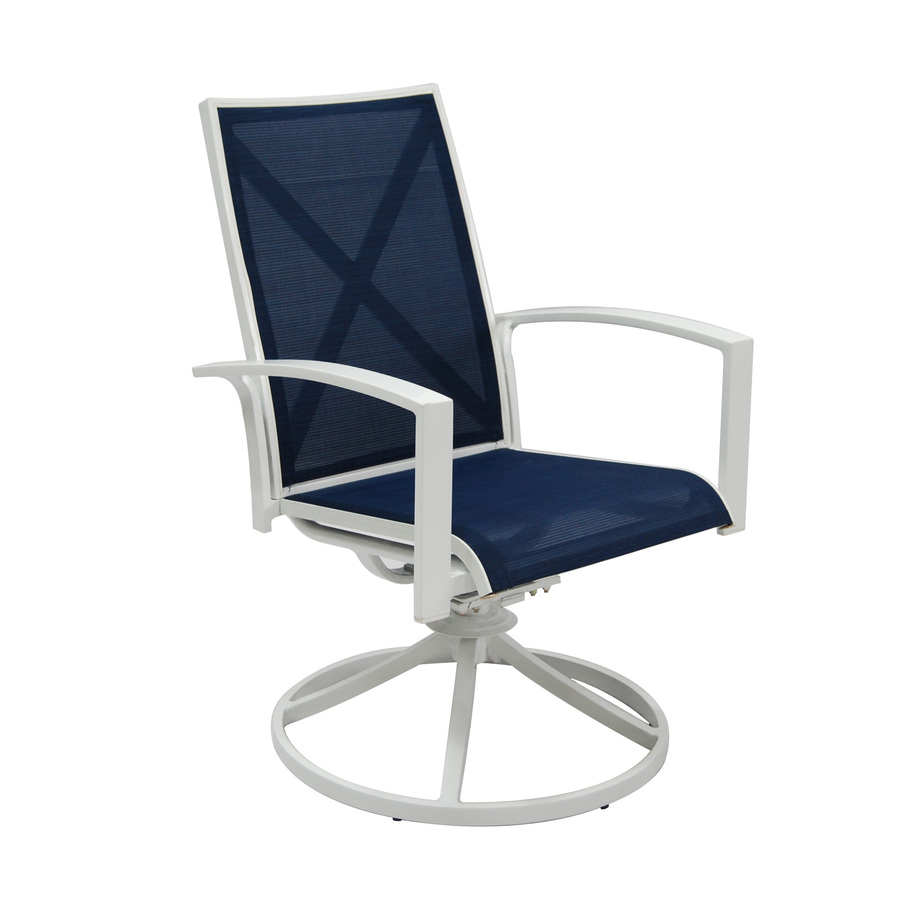 Shop allen roth set of 2 ocean park white sling seat for Outdoor swivel chairs