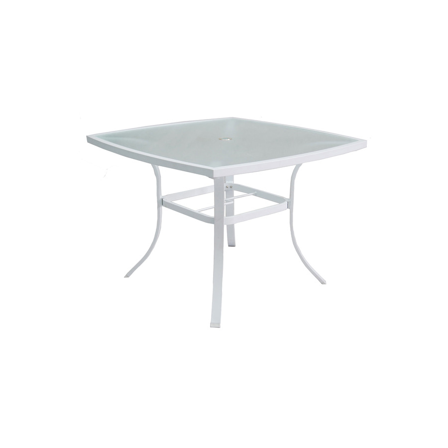 Shop allen roth ocean park glass top white square patio for Outdoor dining table glass top