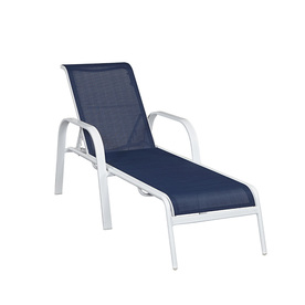 Shop allen roth ocean park sling seat aluminum patio for Allen roth steel patio chaise lounge
