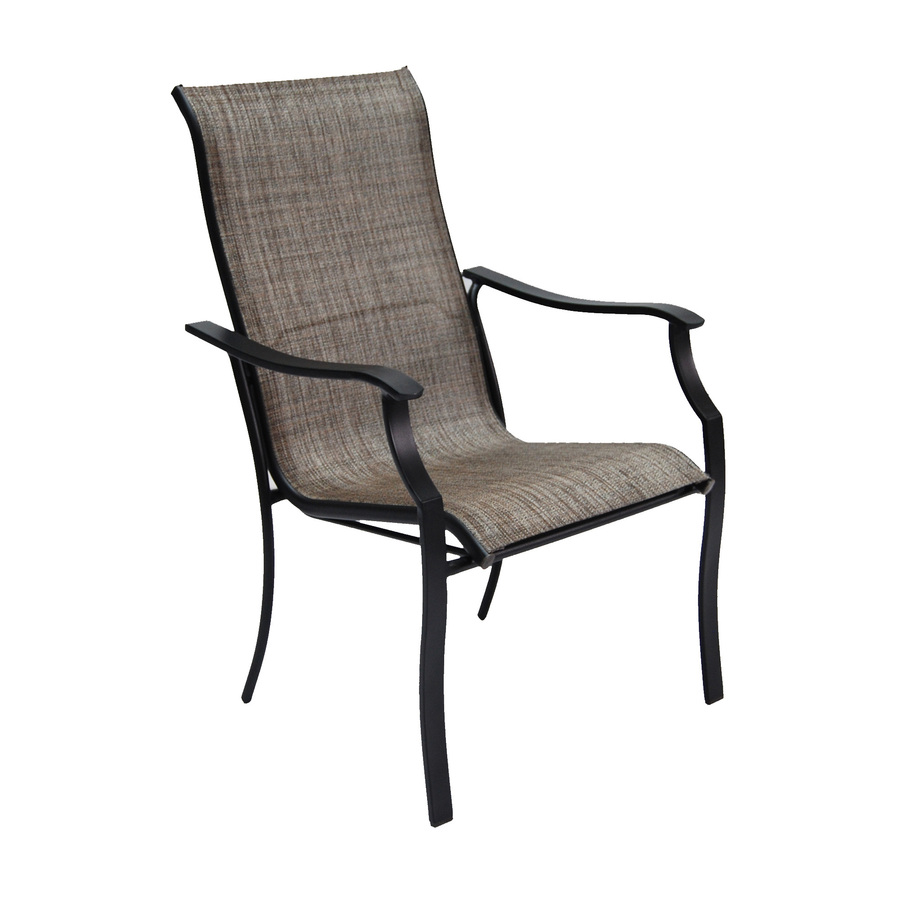 Black steel stackable patio dining chair shop garden for Stackable outdoor dining chairs
