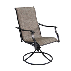 set of 2 cascade creek black sling steel swivel patio dining chairs