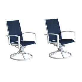 Allen + Roth Ocean Park 2 Count White Aluminum Swivel Patio Dining Chairs  With Nautical