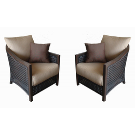 allen + roth Set of 2 Cranston Extruded Aluminum Patio Chairs with Textured Tan Cushion