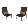 Garden Treasures Set of 2 Kenmont Steel Patio Chairs with Floral Tan Cushion