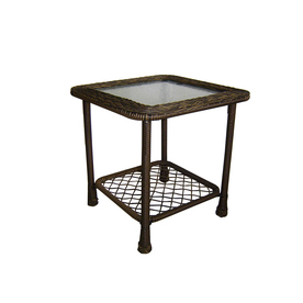 Garden Treasures Severson 20.25-in x 20.25-in Black Steel Square Patio Side Table