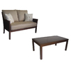 allen + roth 2-Piece Binkley Patio Loveseat and Coffee Table Set with Textured Tan Cushions