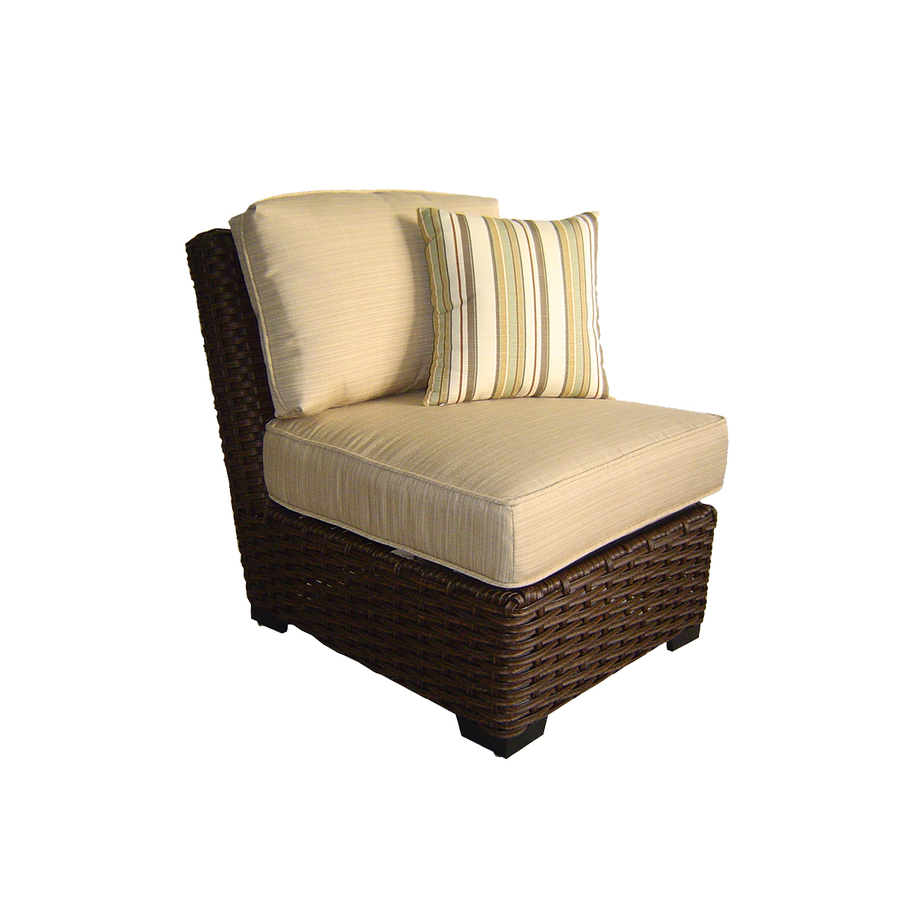 Shop Allen Roth Blaney Textured Black Wicker Cushioned Patio Chair At