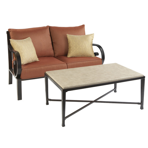 Allen Roth Pardini Patio Wicker Loveseat Sofa Table Set At Lowes Sets Lounging Furniture Outdoor