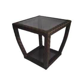 allen + roth Lawley 20.5-in x 20.5-in Black Steel Square Patio Side Table