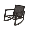 allen + roth Lawley Textured Black Steel Strap Seat Patio Rocking Chair