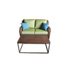 allen + roth 2-Piece Belanore Patio Loveseat and Coffee Table Set with Green Cushions