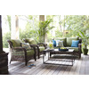 allen + roth Set of 2 Belanore Steel Strap-Seat Patio Chairs with Solid Green Cushions