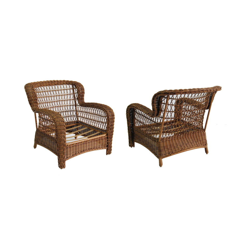 Shop Allen Roth Set Of 2 Belanore Textured Coffee Steel Strap Patio Chairs At