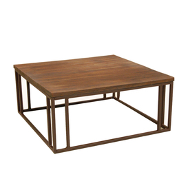 Shop Allen Roth Belanore 40 In X 40 In Aluminum Square Patio Coffee Table With Shelf At