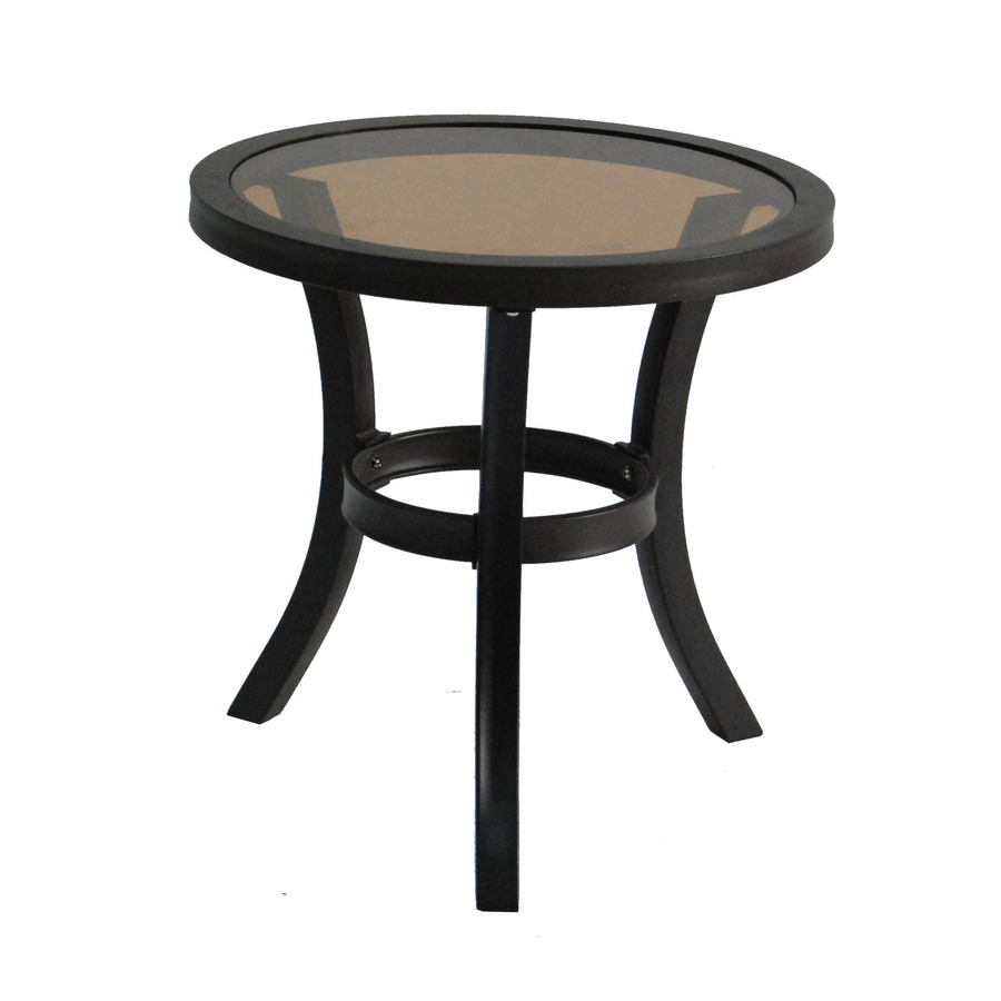 shop allen roth belsay x black steel round patio end table at. Black Bedroom Furniture Sets. Home Design Ideas
