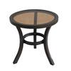 allen + roth Belsay 19.88-in x 19.88-in Dark Brown Steel Round Patio End Table