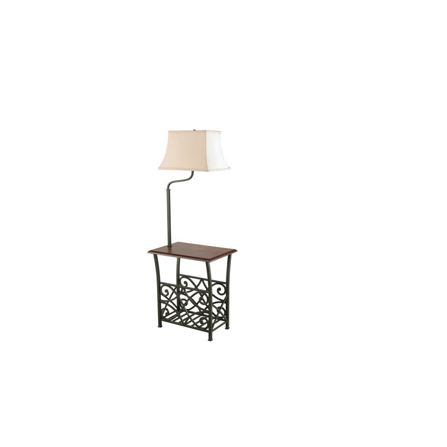 end table with build in floor lamp magazine holder rack oil rubbed. Black Bedroom Furniture Sets. Home Design Ideas