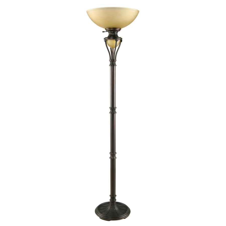 bronze torchiere indoor floor lamp with glass shade at. Black Bedroom Furniture Sets. Home Design Ideas