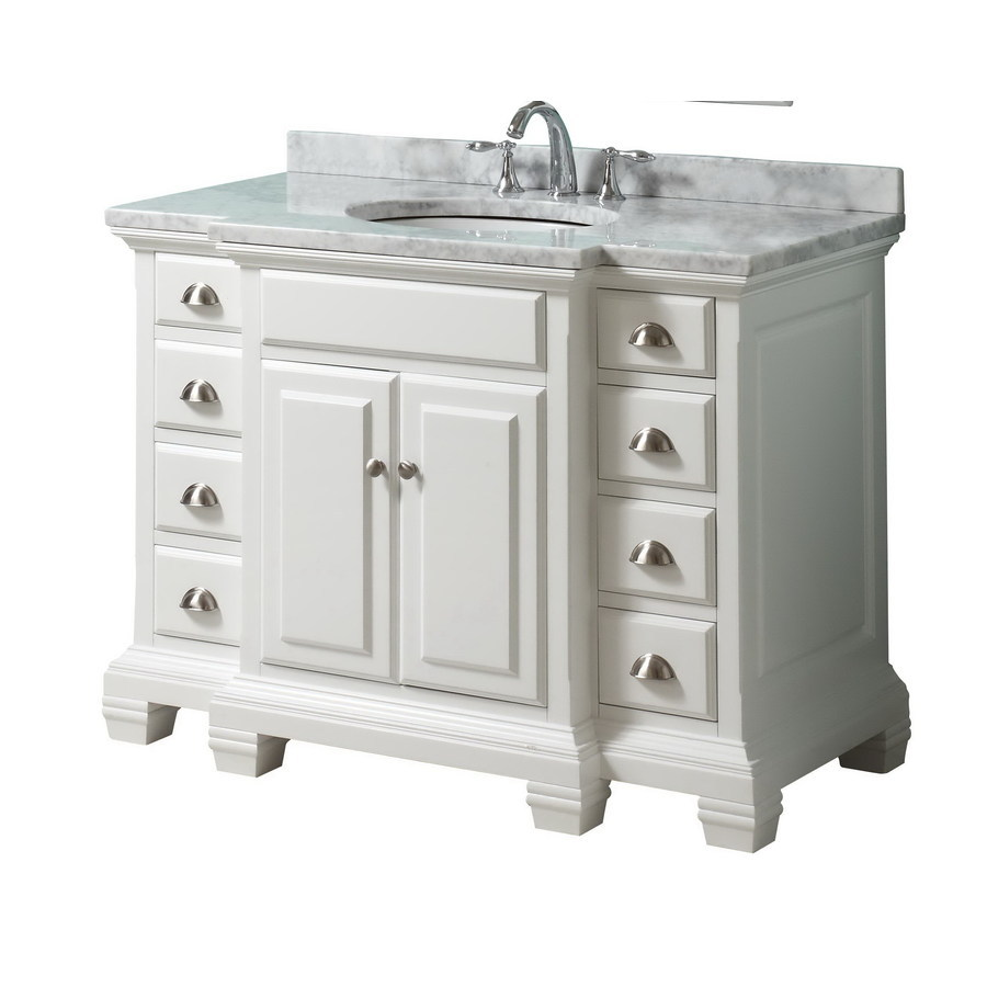 Shop allen roth vanover white undermount single sink - Lowes single sink bathroom vanity ...